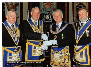 L to R: Stephen Priestley (DistGPCW), Neil Woodward (DGM), Geoff Gillyon (Craft PGM) and Frank Brown (DepDGM)